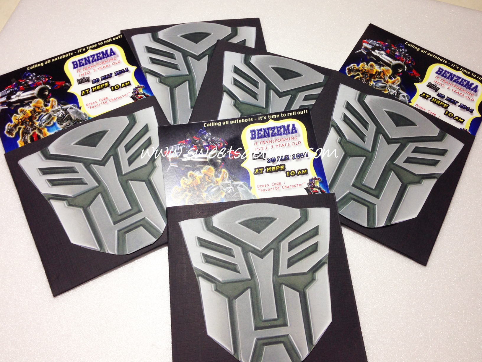 transformers invitations Sweets Delight