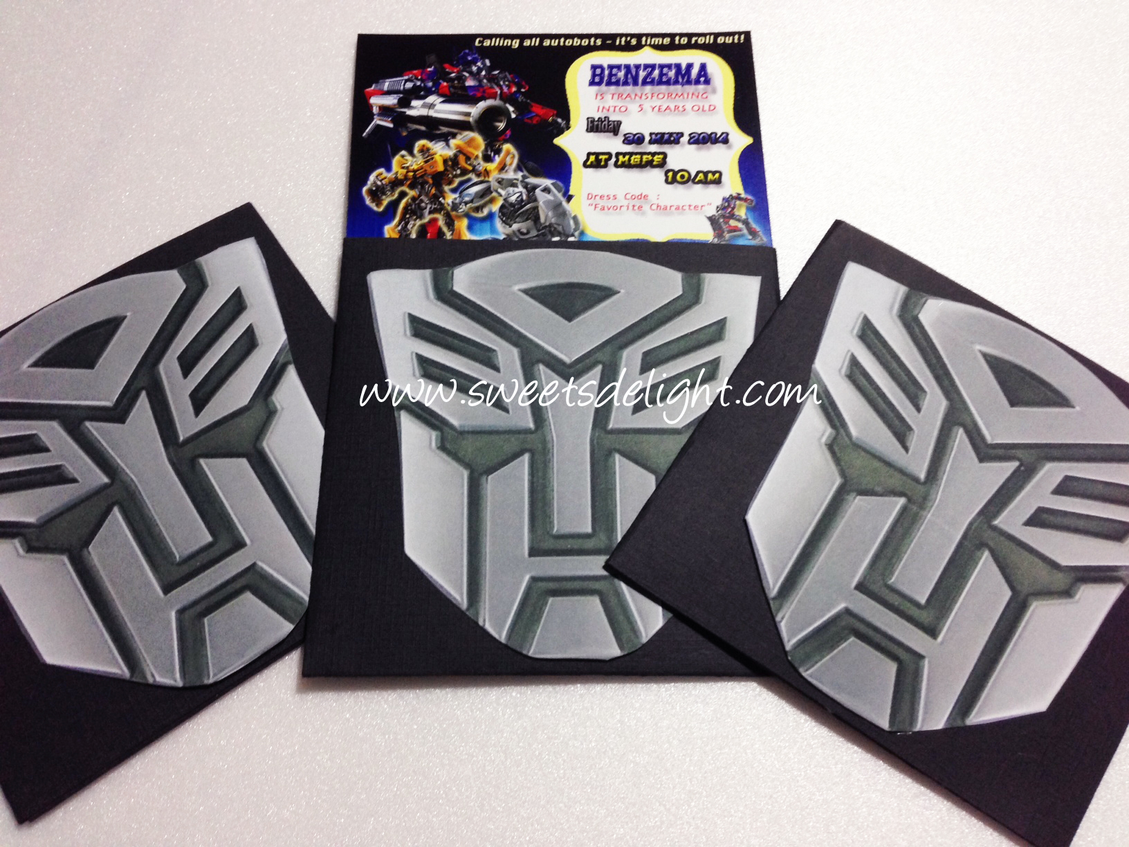 Transformers Invitation Benzema 5th Birthday Sweets Delight