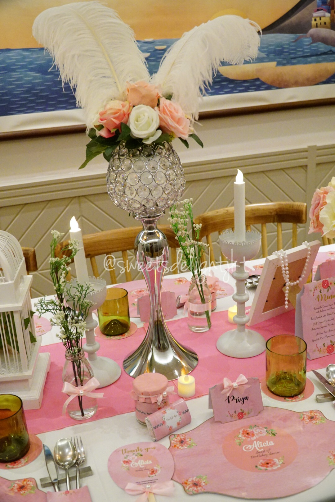 Advertisements & VIP Table Setting Sweet 17th Pink Flowery Themed \u2013 Sweets Delight